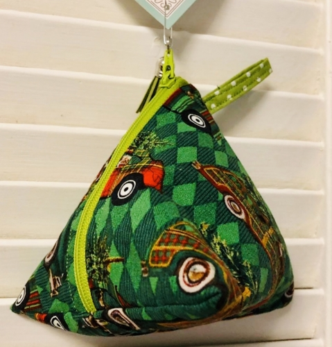 green triangular pouch by sweet pea designs